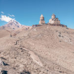 Beautiful Gergeti Trinity Church with Kazbek Mountain the background. More on www.atasteoffun.com