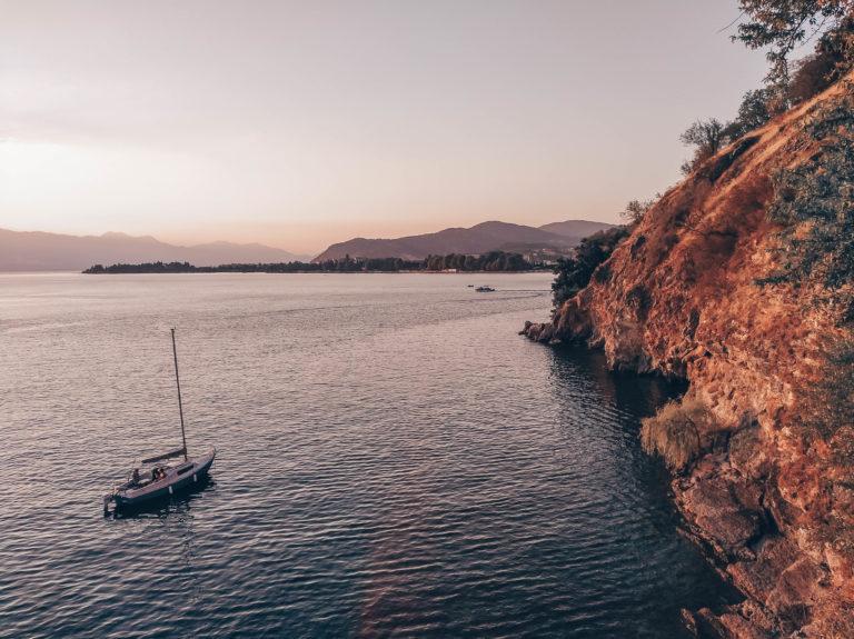 Beautiful susnset over Ohrid lake in North Macedonia